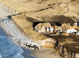 getextile Sandpolster als Küstenschutz